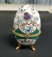 Egg Shaped Trinket Box Porcelain Footed Gold Tone Trim    CAB