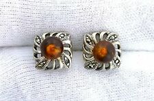 Pair 6mm Round Baltic Amber Gem Ball Bead Sterling Silver Post Earrings PE10
