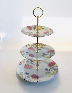 3 TIER VINTAGE FLORAL CAKE STAND CUPCAKE SANDWICHES CAFE TEA SHOP CORNFLOWER