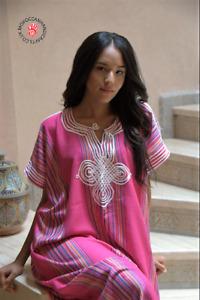 Handmade Moroccan pink kaftan with multi coloured stripes