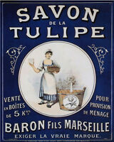 Savon De La Tulipe - VINTAGE ADVERTISING ENAMEL METAL TIN SIGN WALL PLAQUE