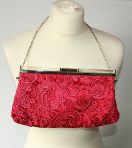 "Pink Crochet Clasp Shoulder Bag Evening Party Prom Julien MacDonald 9.5"" x 5"""