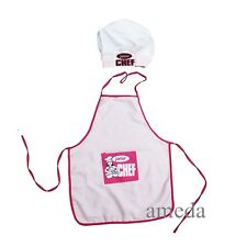 NEW Kids Boys Girls Chef Hat Apron Pink Cookung Baking Chefs Junior 2pcs Set