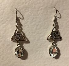 CELTIC KNOT DK SILVER PLATED TRI EARRINGS FACETED CLEAR GLASS CRYSTAL OVAL HOOK
