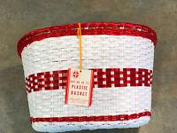 Schwinn NOS basket Krate Stingray Fastback Wicker Plastic Basket White Red