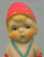 Vintage Bisque Penny Doll in Pink Hat Chubby Cheeks Blue Shoes Frozen Japan