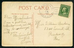 1909 TENMILE OR DOANE CANCEL TYPE 2/1 (de853)