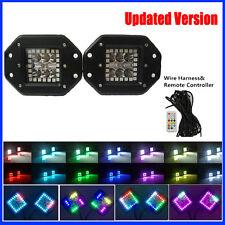 2x 24W CREE Flush Mount LED Work Light Pods Offroad ATV & RGB Halo Change Chase