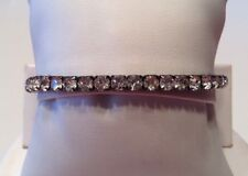 Vintage New STEVE MADDEN Jewelry Crystal Stretch Bangle Gunmetal Clear Crystals