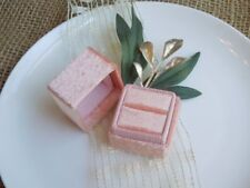 Heirloom Collection Velvet Ring Box - Pearly Pastel Edition - Peach