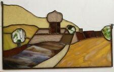 Tiffany-Fensterbild Landschaft mit Dorf, Glasfensterbild in Handarbeit