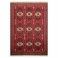 "6'6"" x 9'6"" Hand Knotted Afghanistan Tribal Wool 200 KPSI Veg Dyes Area Rug Red"
