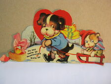 Dog pulling Puppy on Sled Vintage Valentine Die Cut Stand Up Card  T*