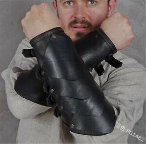 Medieval PU Black Rivet Buckle Arm Wrist Wide Cuffs Bracers Warrior Gauntlet