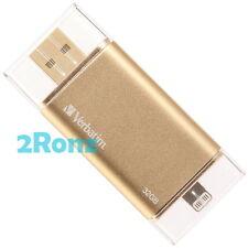 Verbatim Lightning 64GB 64G USB Flash i Drive MFI for Apple iPhone iPad OTG Gold