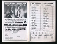 1993 Fosters Cup Melbourne v West Coast Quarter Final Football Record Eagles won