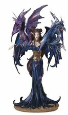 "10"" Inch Fairy with Two Dragons Statue Figurine Figure Fantasy Magical"