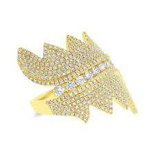 Diamond Pave Cocktail Right Hand Ring Ladys 1.28Ct 14K Yellow Gold Natural Round