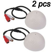 2 Pcs High Sensitive Microphone DC Audio/Sound Cable Monitor For CCTV Camera US