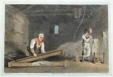 LINE SWINGLERS, COSTUME OF YORKSHIRE, Flax Trade, G.Walker, antique print 1814