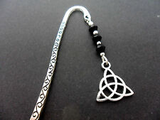 A PRETTY TIBETAN SILVER CELTIC KNOT CHARM BLACK CRYSTAL BEADS BOOKMARK. NEW.