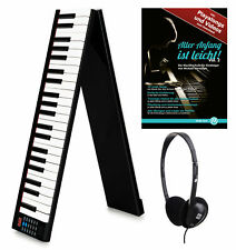 Akku Klappbar Keyboard Digital 88 Tasten Piano USB Tasche Pedal Schule Kopfhörer