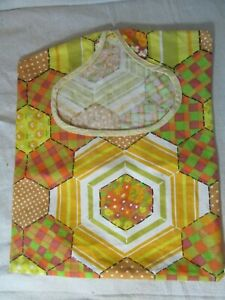 Vtg Quilt Style Hanging Clothespin Bag Retro 60's Laundry Clothesline