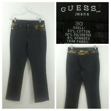 Guess Women's Black Animal Print Faux Fur Pockets Boot Cut Jeans Size 30