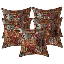 Bohemian Cotton Pillow Covers Brown 24x24 Vintage Patchwork Cushion Covers