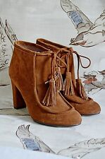 KEW 159 jigsaw SUEDE tan leather BOOTS tassel HEELS shoes bohemian boho  38 UK5