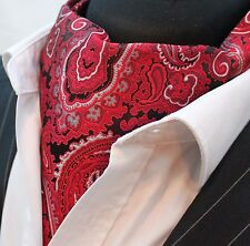 Cravat Ascot Red & Black Paisley Cravat with matching hanky.