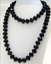 """30"""" Knotted Necklace Single Strand Faceted Black Glass Crystal Gemstone Beads"""