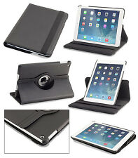 iPad Air Case Rotating Vegan Leather Case/Stand with Dual On/Off Switches-Black