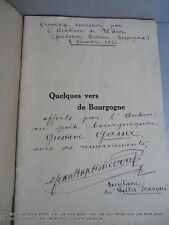 Vin Bourgogne Perret Poemes Bel envoi de auteur Macon 1933 oenologie pêche Dijon