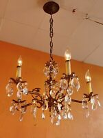 Antique 5 arms Ornate Spanish Brass Chandelier Tons of crystals