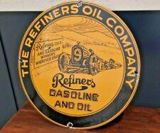 VINTAGE REFINERS OIL CO PORCELAIN MOTOR GASOLINE SERVICE STATION PUMP PLATE SIGN