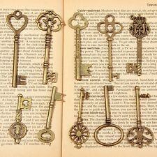20 Antique Vintage Old Look Skeleton Key Set Lot Pendant Heart Bow Lock Steampun