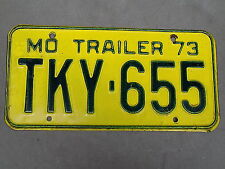1973 Missouri MO Trailer License Plate TKY-655 Green on Yellow ~FastFreeShip~