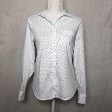 NWOT H&M White Polka Dot Button Down Long Sleeve Blouse- Size 6