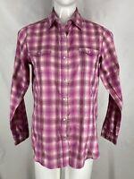 Wrancher by Wrangler Pearl Snap Western Rodeo Shirt Medium Pink Plaid Metallic