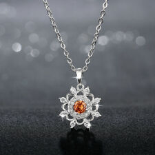 Classic 925 Sterling Silver Filled Champagne Zircon Crystal Flower Necklace
