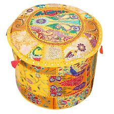 """Indian Round Bedroom Ottoman Patchwork Embroidered Pouf Cover Cotton 16"""" Yellow"""