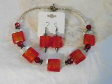 Art Glass Crystal Beaded Necklace & Earrings Set Handcrafted Red/Orange/Clear