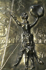 Salvador Dali Don Quixote gold patina bas relief metal wall plaque
