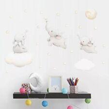 Elephants Clouds Wall Stickers Decals Kids Nursery Removable AU