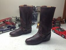 VINTAGE FRYE BROWN LEATHER MADE IN USA DISTRESSED SQUARE TOE HARNESS BOOTS 8 M