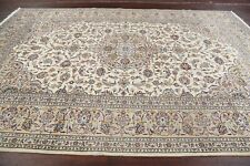 Vintage Floral Ivory Ardakan Area Rug Hand-Knotted Living Room Wool Carpet 8x11