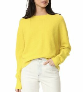 Vince Womens Variegated Rib Knit Long Sleeve Top Jewel Neck Yellow Sweater $198