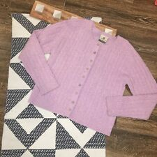 Carraig Donn Sweater Size Medium Purple Pink Pure New Wool Irish Cardigan Aran