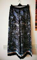 H&M Satin Hose Marlene Gr.42 Paisley blau    ##LRZ297